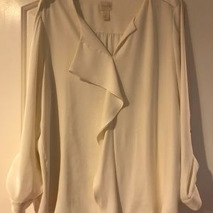Chico's Ivory Blouse with Ruffle